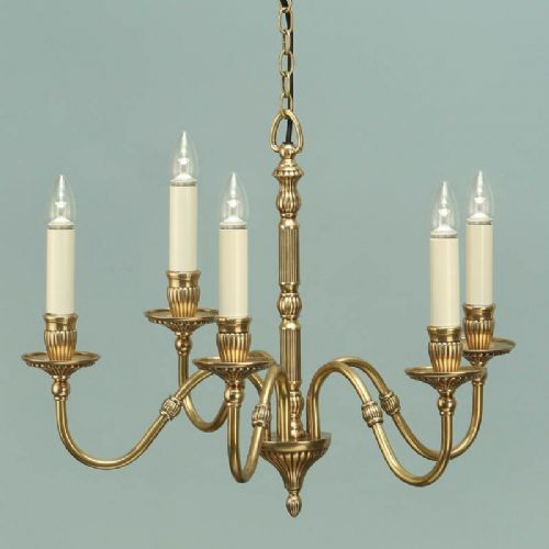 Fitzroy Solid Brass 5 light Chandelier (Traditional, Medium Chandlier) ABY133P5
